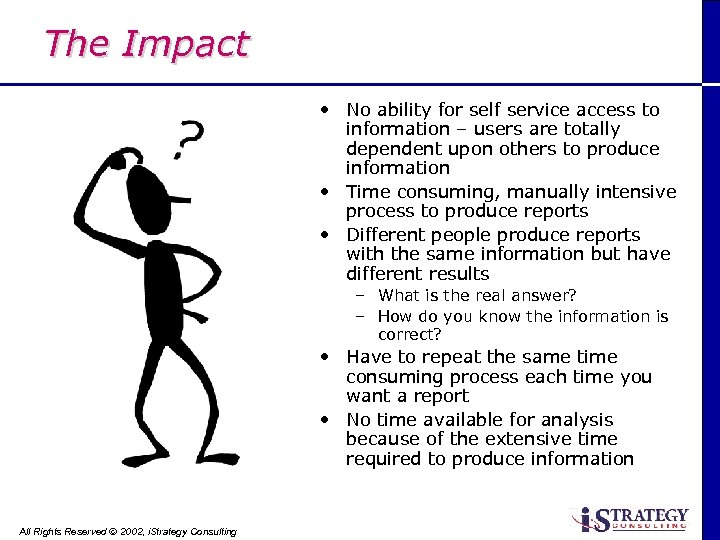 The Impact • No ability for self service access to information – users are
