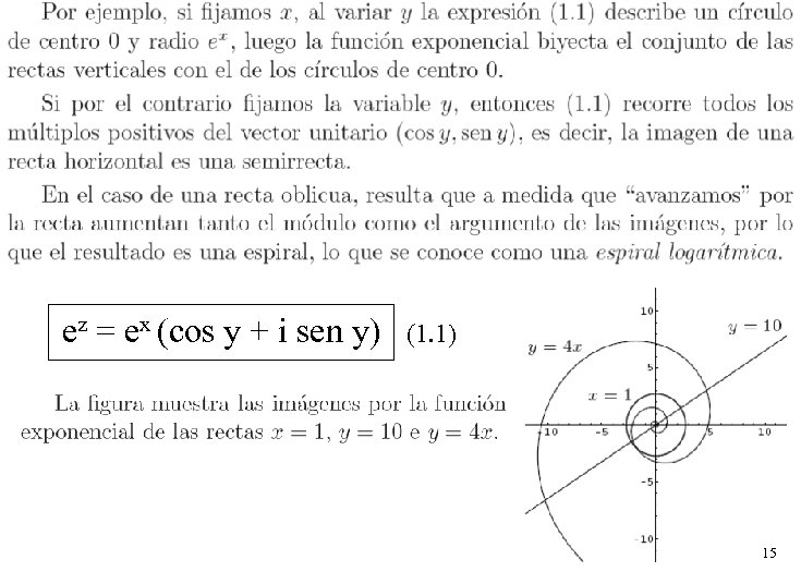 ez = ex (cos y + i sen y) (1. 1) 15