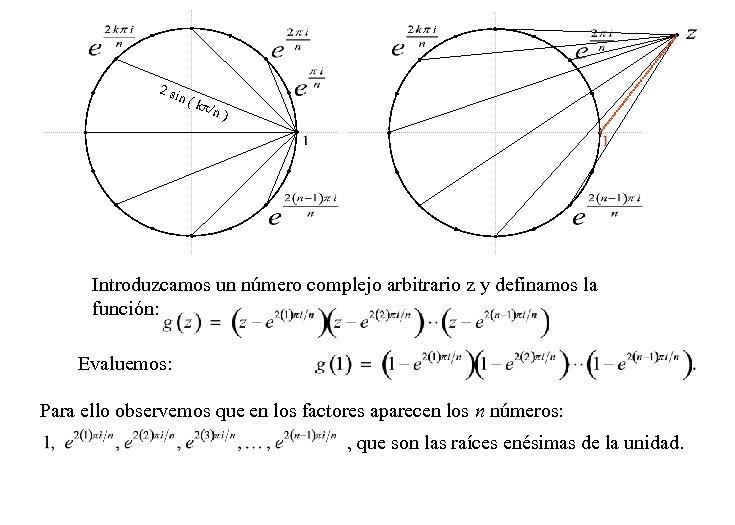 2 si n ( k /n ) Introduzcamos un número complejo arbitrario z y
