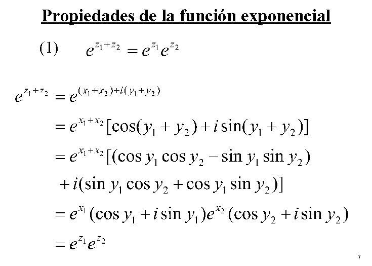 Propiedades de la función exponencial (1) 7