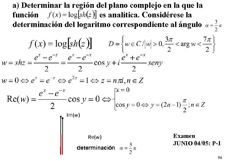 a) Determinar la región del plano complejo en la que la función es analítica.