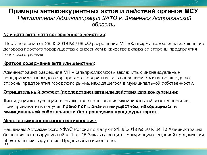 Примеры антиконкурентных актов и действий органов МСУ Нарушитель: Администрация ЗАТО г. Знаменск Астраханской области