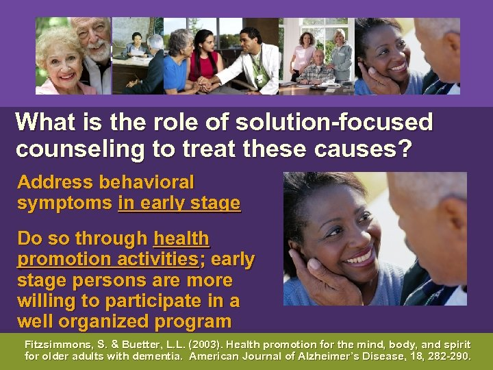 What is the role of solution-focused counseling to treat these causes? Address behavioral
