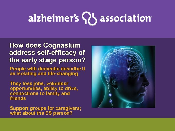 How does Cognasium address self-efficacy of the early stage person? People with dementia