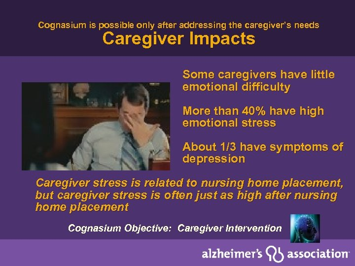 Cognasium is possible only after addressing the caregiver's needs Caregiver Impacts Some caregivers have