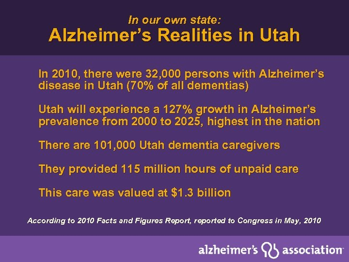 In our own state: Alzheimer's Realities in Utah In 2010, there were 32, 000