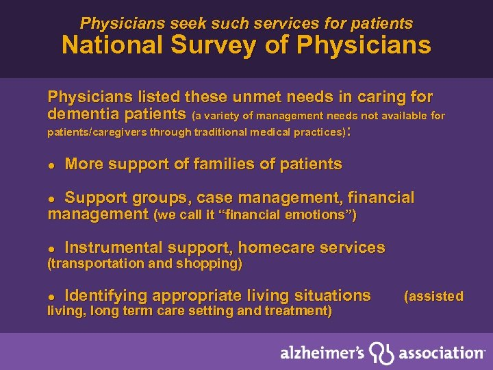 Physicians seek such services for patients National Survey of Physicians listed these unmet needs