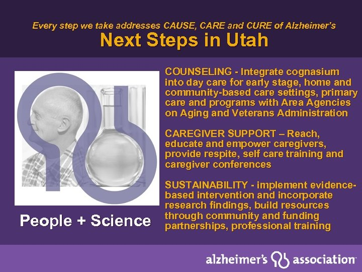 Every step we take addresses CAUSE, CARE and CURE of Alzheimer's Next Steps in