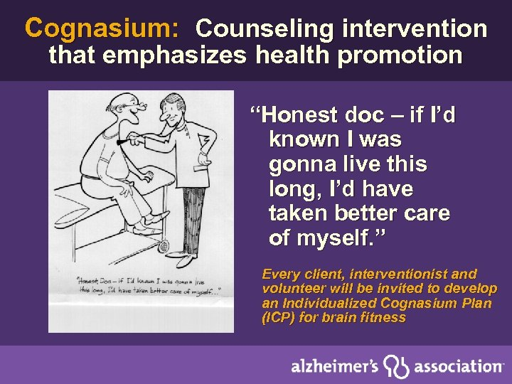 """Cognasium: Counseling intervention that emphasizes health promotion """"Honest doc – if I'd known I"""
