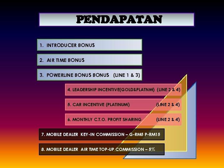 PENDAPATAN 1. INTRODUCER BONUS 2. AIR TIME BONUS 3. POWERLINE BONUS (LINE 1 &