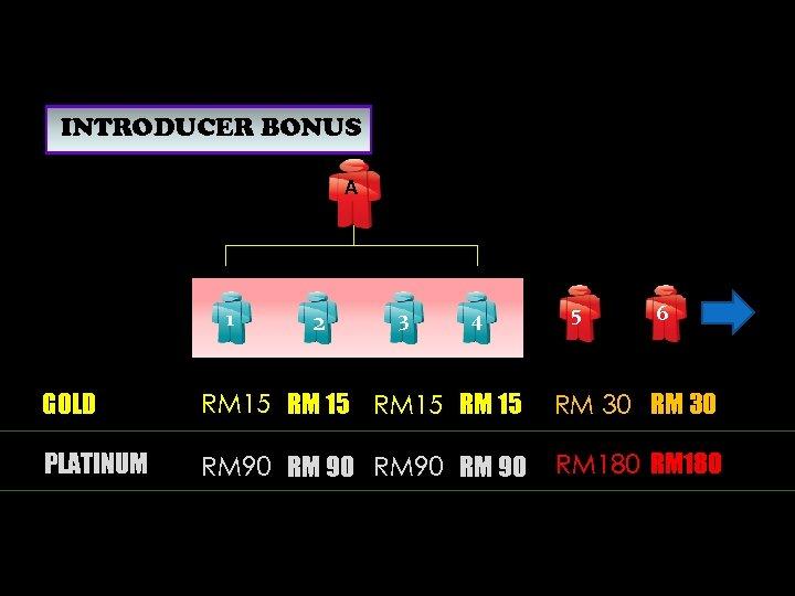 INTRODUCER BONUS A 1 2 3 4 5 6 GOLD RM 15 RM 30