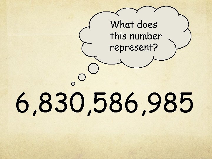 What does this number represent? 6, 830, 586, 985