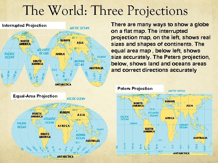 The World: Three Projections Interrupted Projection There are many ways to show a globe