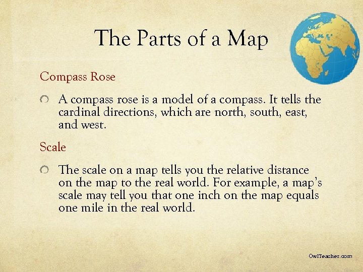 The Parts of a Map Compass Rose A compass rose is a model of