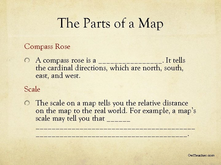 The Parts of a Map Compass Rose A compass rose is a ________. It
