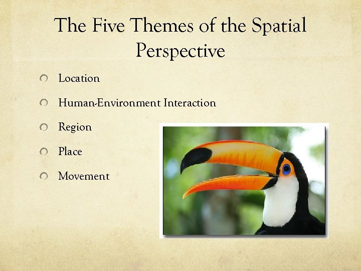 The Five Themes of the Spatial Perspective Location Human-Environment Interaction Region Place Movement