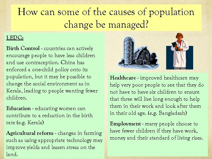 How can some of the causes of population change be managed? LEDCs Birth Control