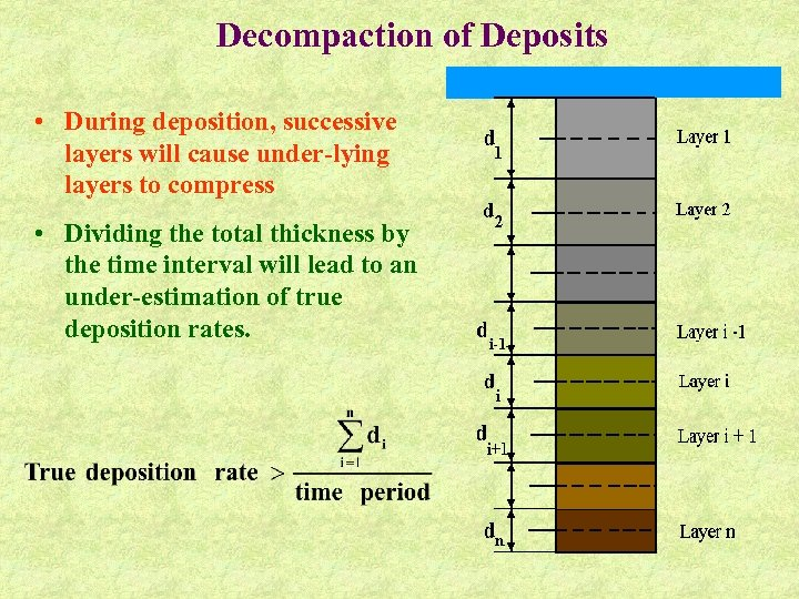 Decompaction of Deposits • During deposition, successive layers will cause under-lying layers to compress