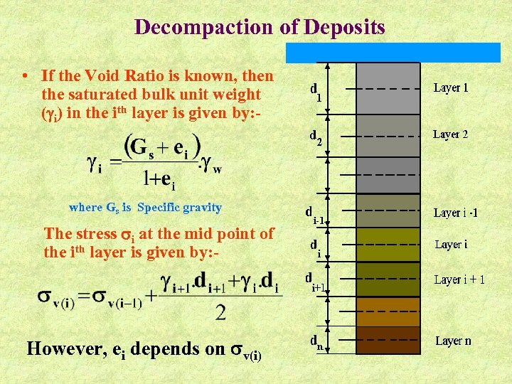 Decompaction of Deposits • If the Void Ratio is known, then the saturated bulk