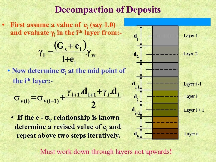 Decompaction of Deposits • First assume a value of ei (say 1. 0) and