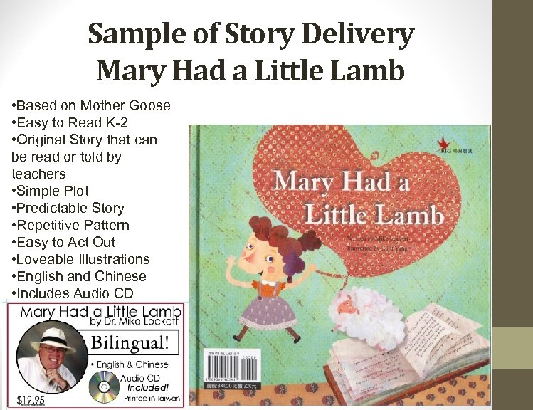 Sample of Story Delivery Mary Had a Little Lamb • Based on Mother Goose