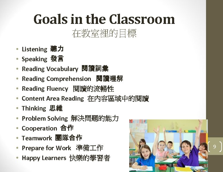 Goals in the Classroom 在教室裡的目標 • • • Listening 聽力 Speaking 發言 Reading Vocabulary