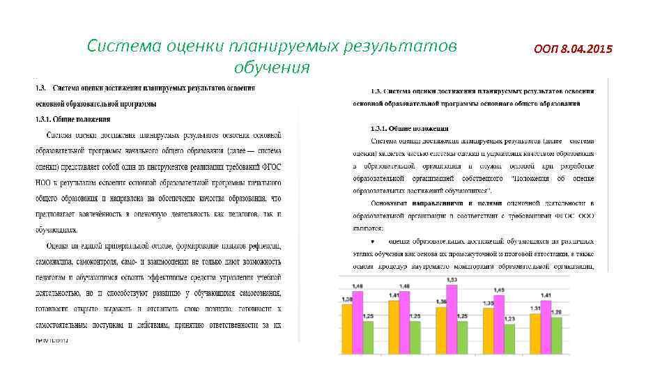 Система оценки планируемых результатов обучения ООП 8. 04. 2015