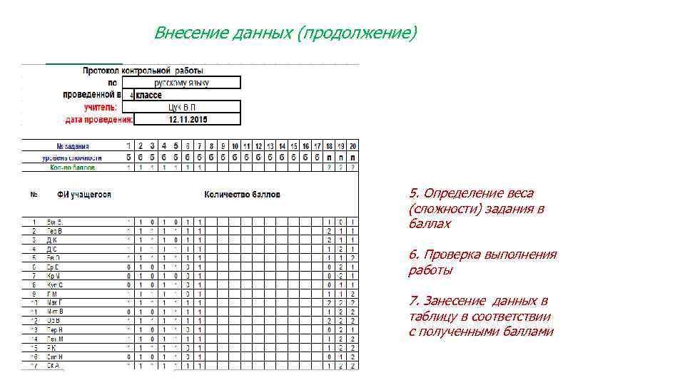 Внесение данных (продолжение) 5. Определение веса (сложности) задания в баллах 6. Проверка выполнения работы