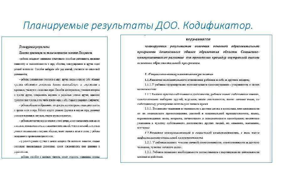 Планируемые результаты ДОО. Кодификатор.