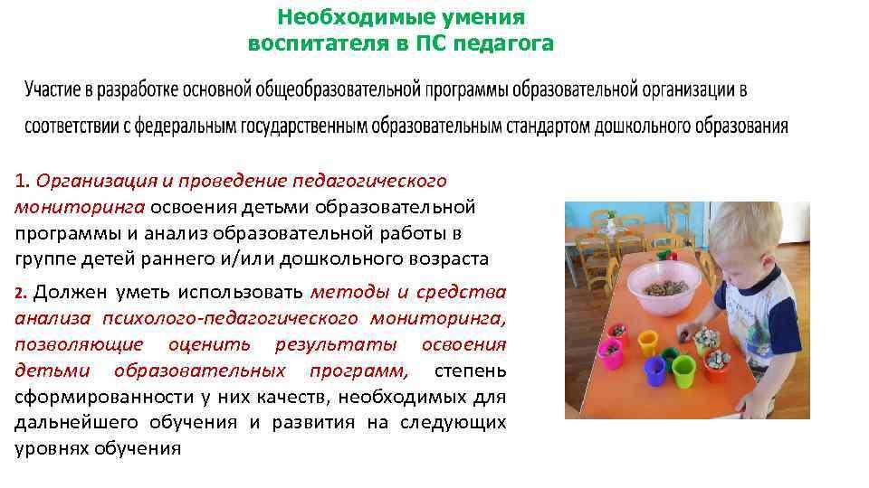 Необходимые умения воспитателя в ПС педагога 1. Организация и проведение педагогического мониторинга освоения детьми