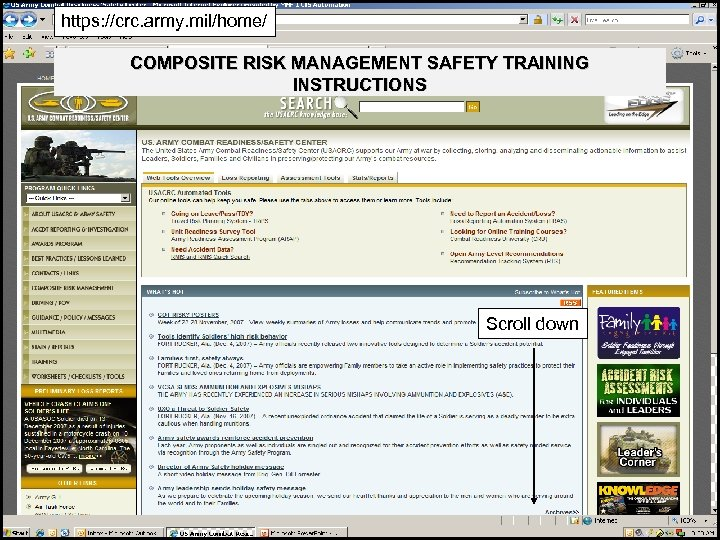 https: //crc. army. mil/home/ COMPOSITE RISK MANAGEMENT SAFETY TRAINING INSTRUCTIONS Scroll down 14
