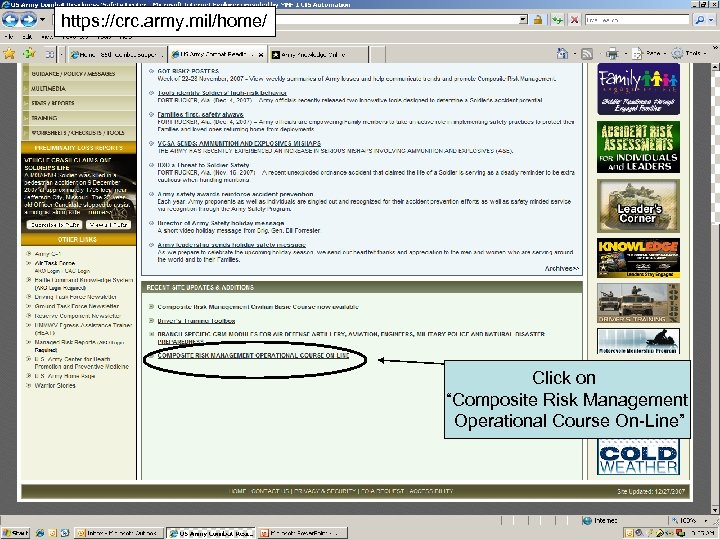 """https: //crc. army. mil/home/ Click on """"Composite Risk Management Operational Course On-Line"""" 15"""