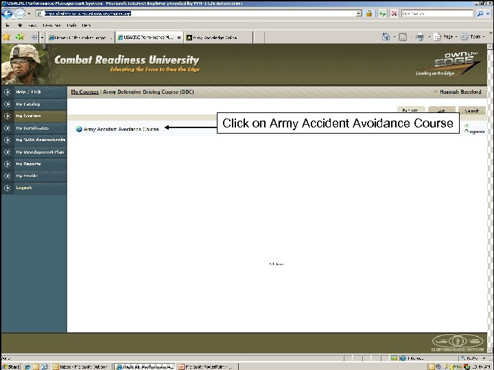 Click on Army Accident Avoidance Course 18
