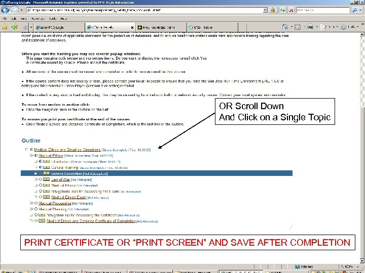 """OR Scroll Down And Click on a Single Topic PRINT CERTIFICATE OR """"PRINT SCREEN"""""""