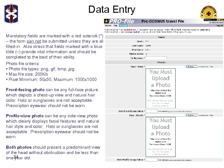 Data Entry Mandatory fields are marked with a red asterisk (*) – the form