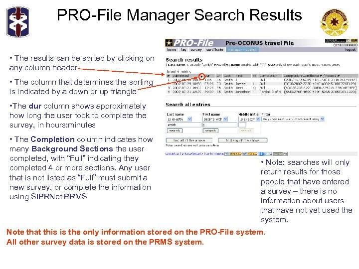 PRO-File Manager Search Results • The results can be sorted by clicking on any