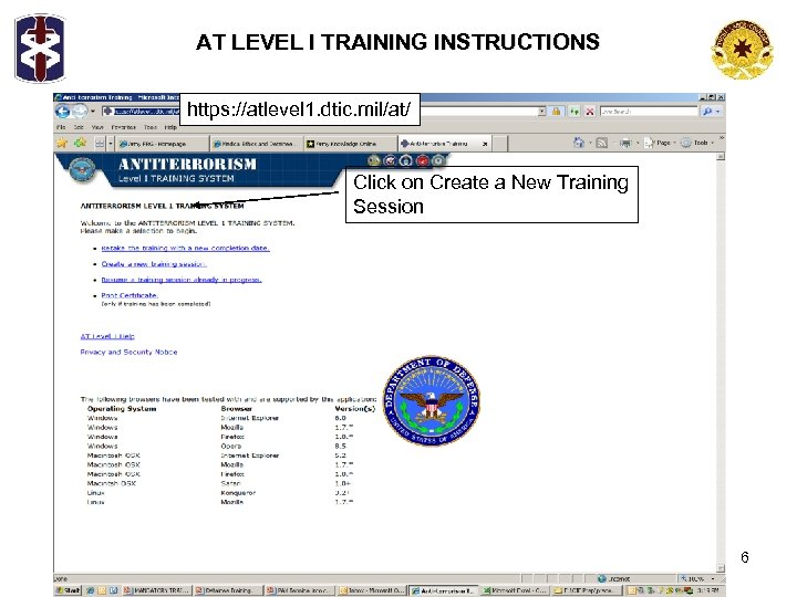 AT LEVEL I TRAINING INSTRUCTIONS https: //atlevel 1. dtic. mil/at/ Click on Create a
