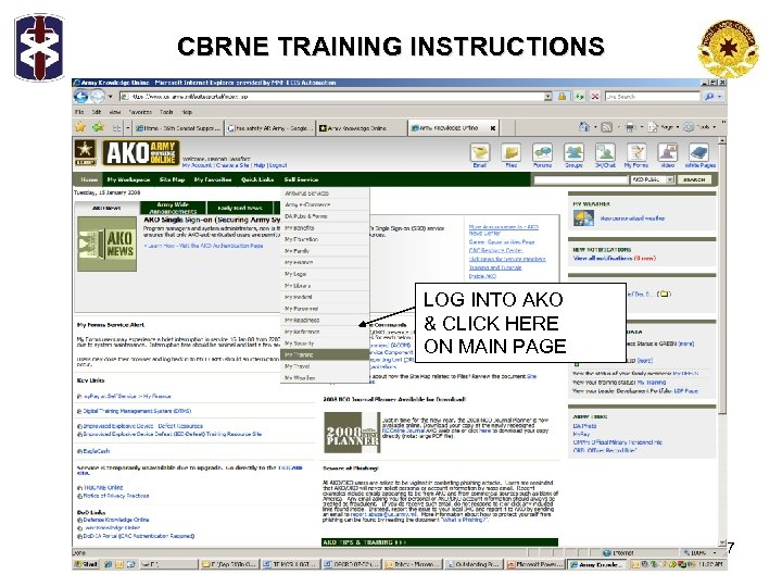 CBRNE TRAINING INSTRUCTIONS LOG INTO AKO & CLICK HERE ON MAIN PAGE 7