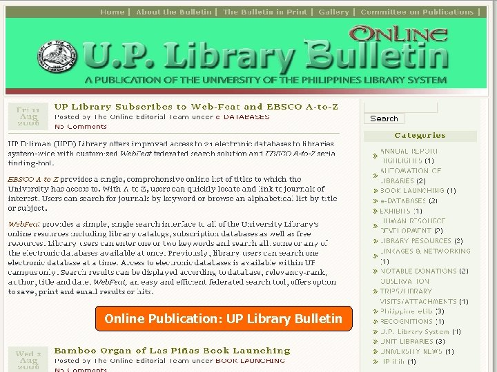 Online Publication: UP Library Bulletin