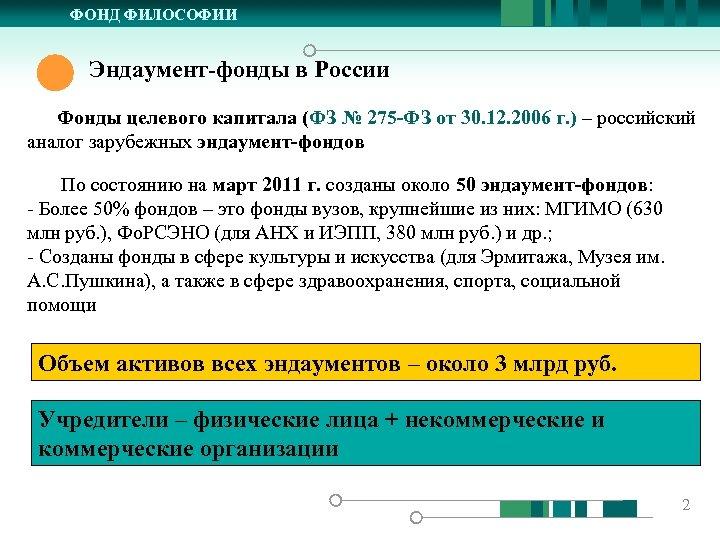 ФОНД ФИЛОСОФИИ Эндаумент-фонды в России Фонды целевого капитала (ФЗ № 275 -ФЗ от 30.