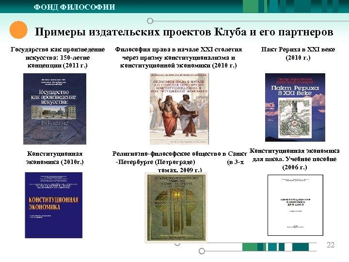 ФОНД ФИЛОСОФИИ Примеры издательских проектов Клуба и его партнеров Государство как произведение искусства: 150