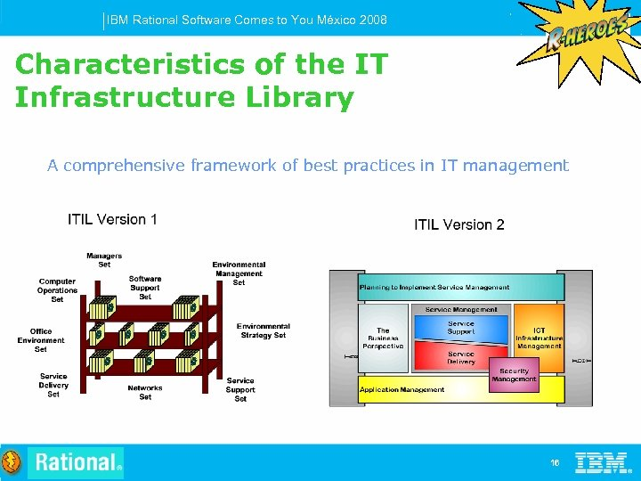 IBM Rational Software Comes to You México 2008 Characteristics of the IT Infrastructure Library