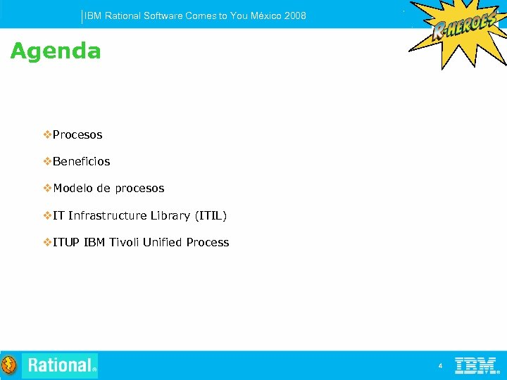 IBM Rational Software Comes to You México 2008 Agenda v. Procesos v. Beneficios v.