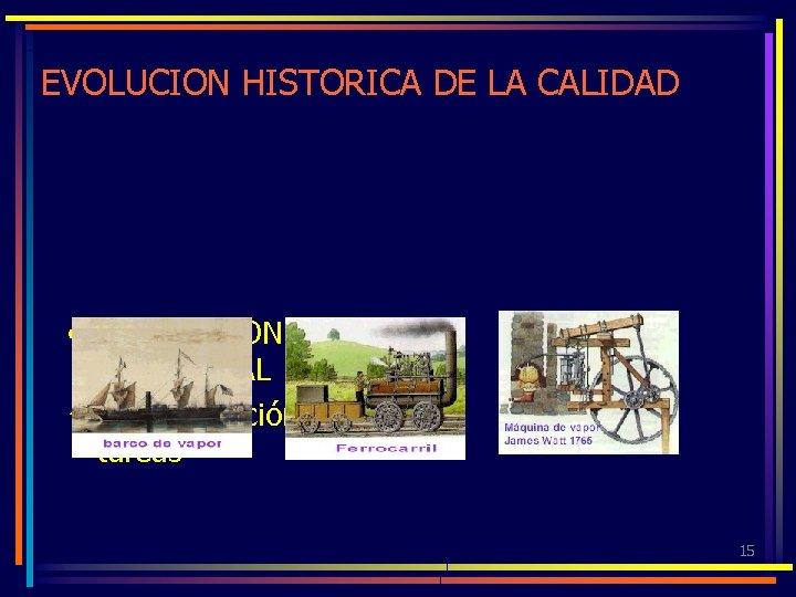EVOLUCION HISTORICA DE LA CALIDAD • REVOLUCION INDUSTRIAL ü Especialización de tareas 15