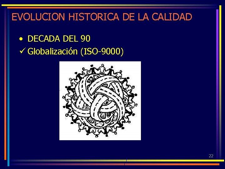 EVOLUCION HISTORICA DE LA CALIDAD • DECADA DEL 90 ü Globalización (ISO-9000) 22