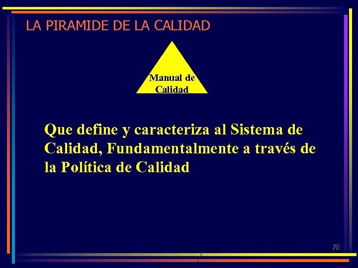 LA PIRAMIDE DE LA CALIDAD Manual de Calidad Que define y caracteriza al Sistema
