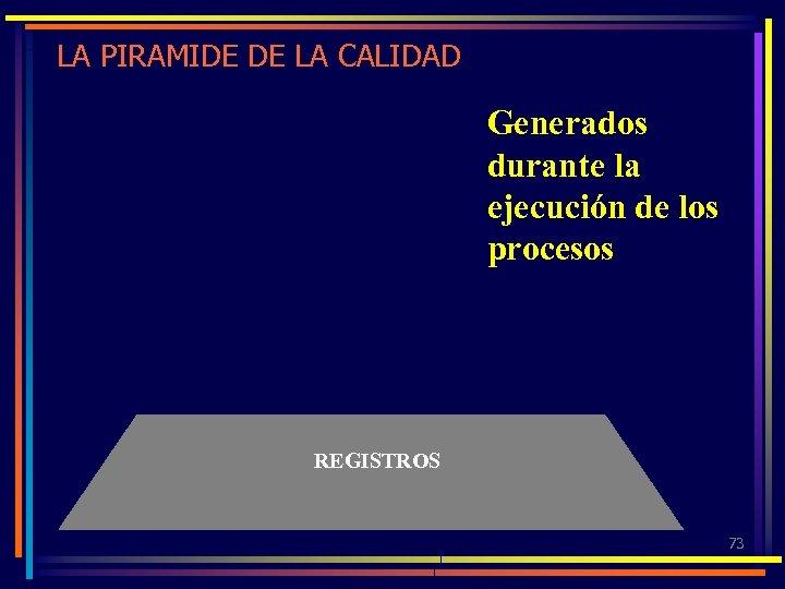 LA PIRAMIDE DE LA CALIDAD Generados durante la ejecución de los procesos REGISTROS 73