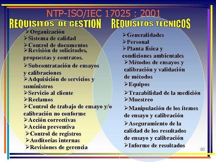 NTP-ISO/IEC 17025 : 2001 ØOrganización ØSistema de calidad ØControl de documentos ØRevisión de solicitudes,