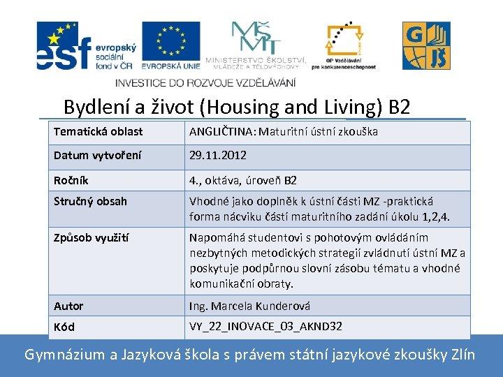 Bydlení a život (Housing and Living) B 2 Tematická oblast ANGLIČTINA: Maturitní ústní zkouška