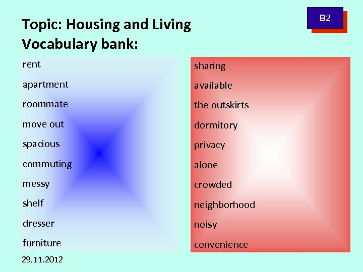B 2 Topic: Housing and Living Vocabulary bank: rent sharing apartment available roommate the